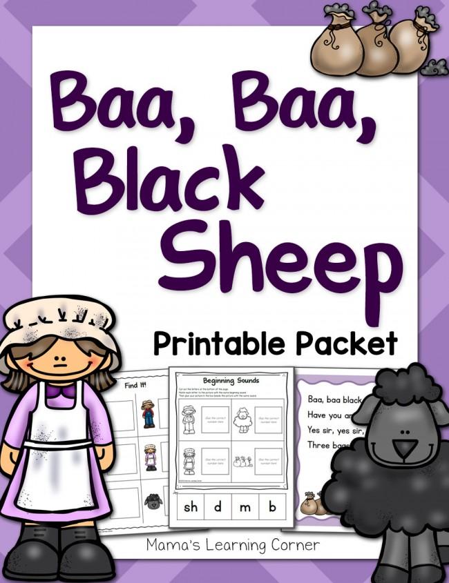 Baa Baa Black Sheep Nursery Rhyme Printable Packet