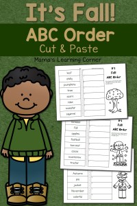 Fall Cut and Paste: ABC Order Worksheets
