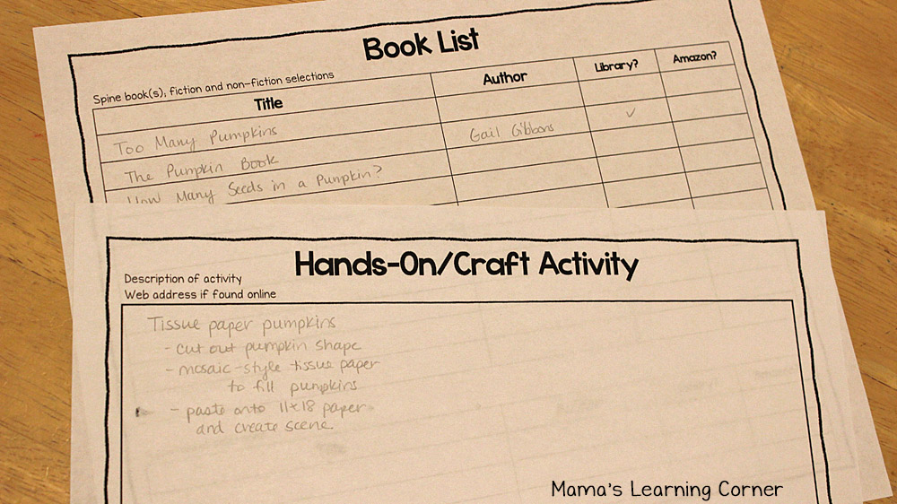 How to Plan a Simple Unit Study Planner page