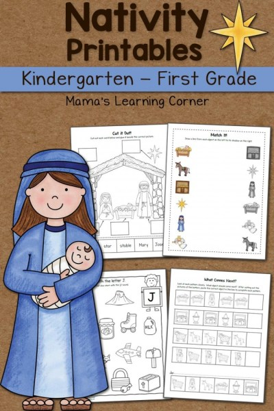 Nativity Worksheet Packet Kindergarten and First Grade