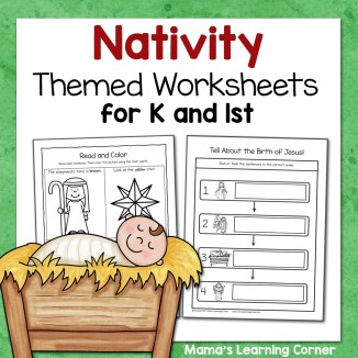 Nativity Worksheets for Kindergarten and 1st