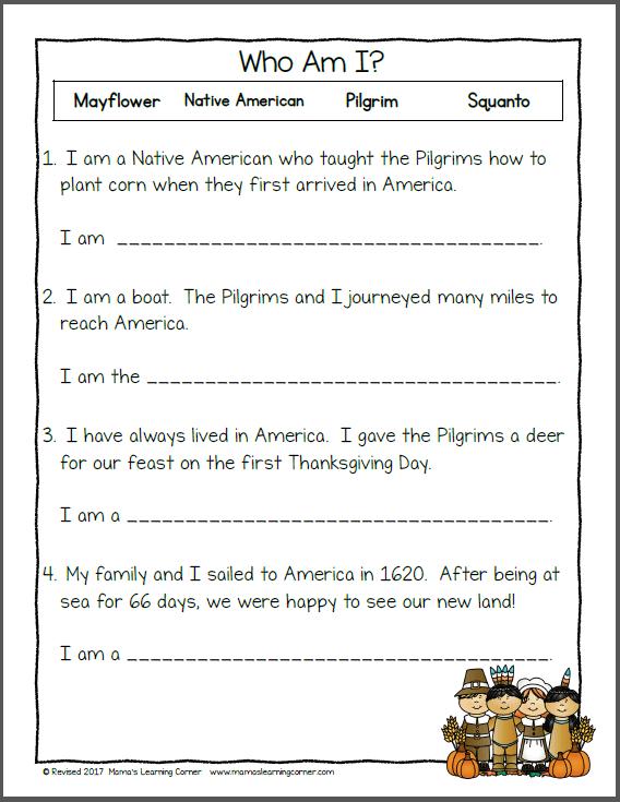 Free Thanksgiving Kindergarten Worksheets