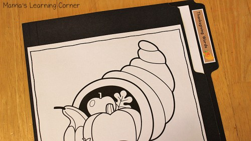 Thanksgiving File Folder Word Wall: Color Your Own Front Cover