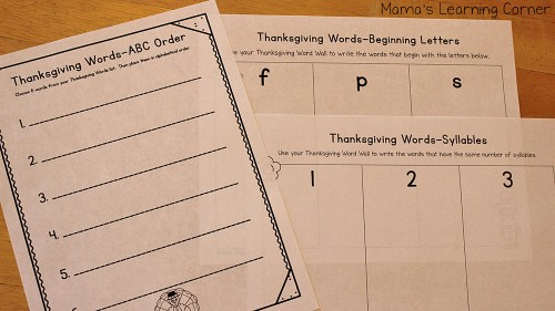 Thanksgiving File Folder Word Wall Worksheet