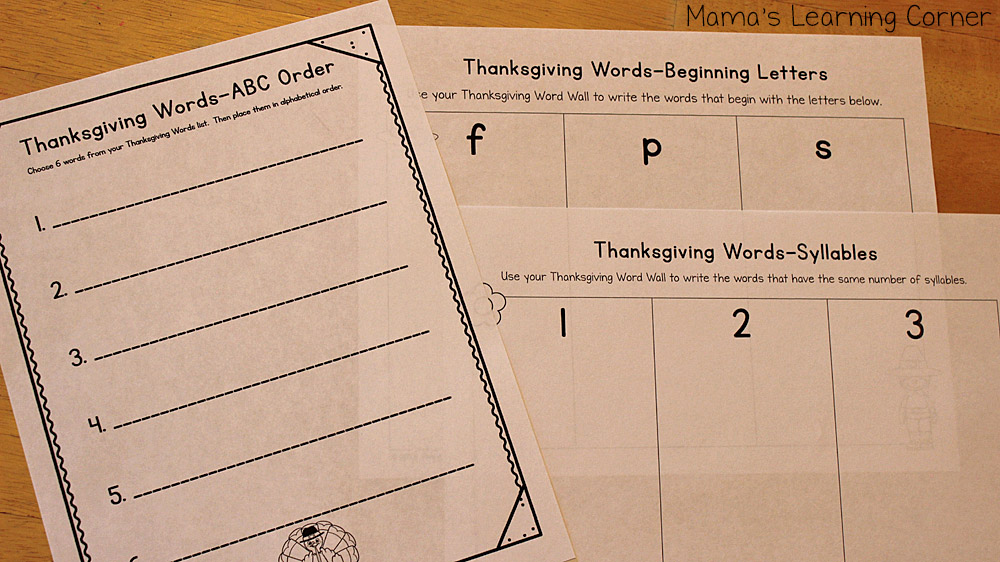 Thanksgiving File Folder Word Wall Worksheet