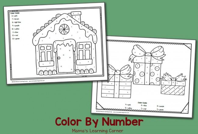 Free Color By Number Worksheets: December!
