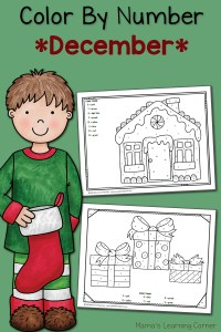 Color By Number Worksheets: December!