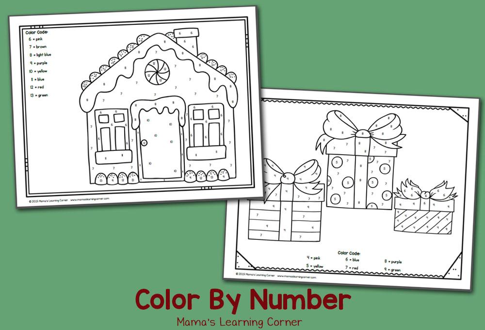 Free Color By Number Worksheets: December!