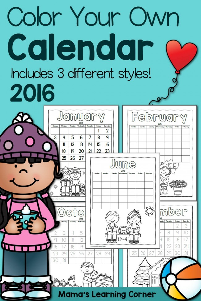 Color Fun Printable Calendar for Kids 2016 - includes 3 styles for different ages and stages!