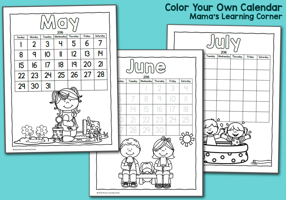 photograph relating to Printable Calendar Kids named Printable Calendar for Youngsters 2016 - Mamas Understanding Corner
