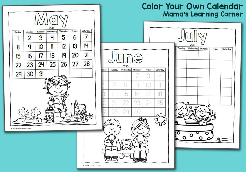 photograph regarding Printable Calendar for Kids identified as Printable Calendar for Youngsters 2016 - Mamas Finding out Corner