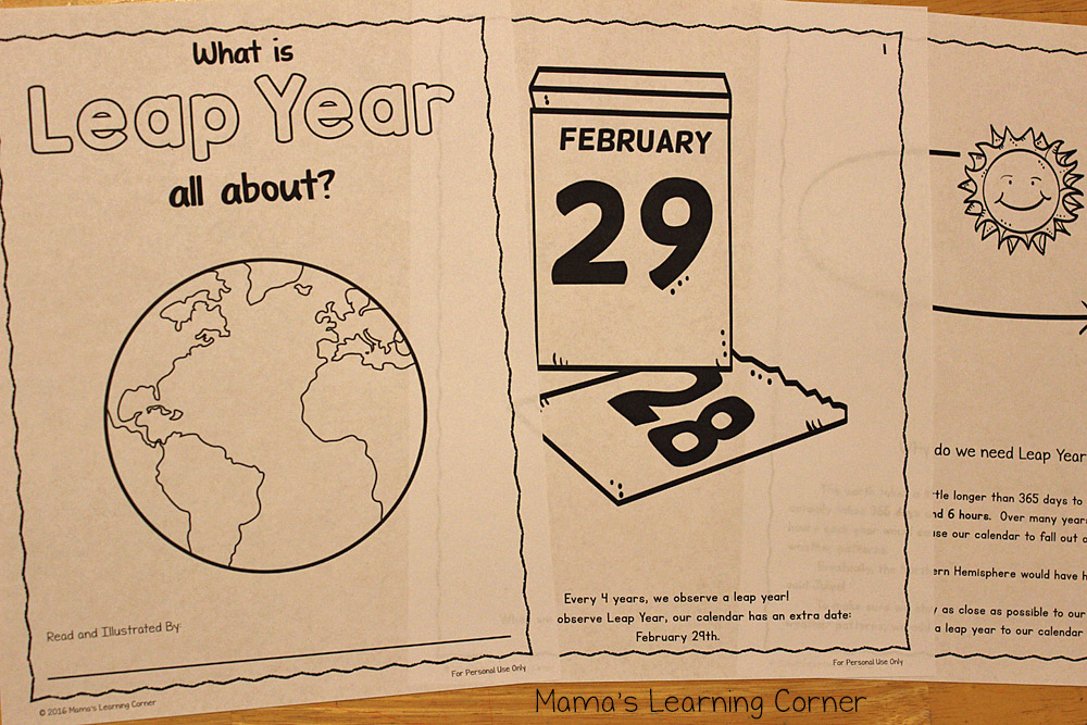 image relating to Leap Year Printable named Printable Jump Yr Coloring E-book - for Preschool toward 5th