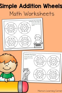 Simple Addition Wheels: Math Worksheets