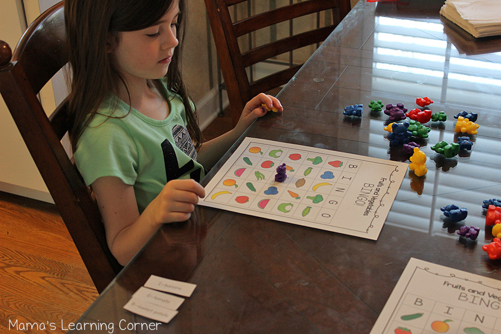 Fruits and Vegetables Bingo Game Printable