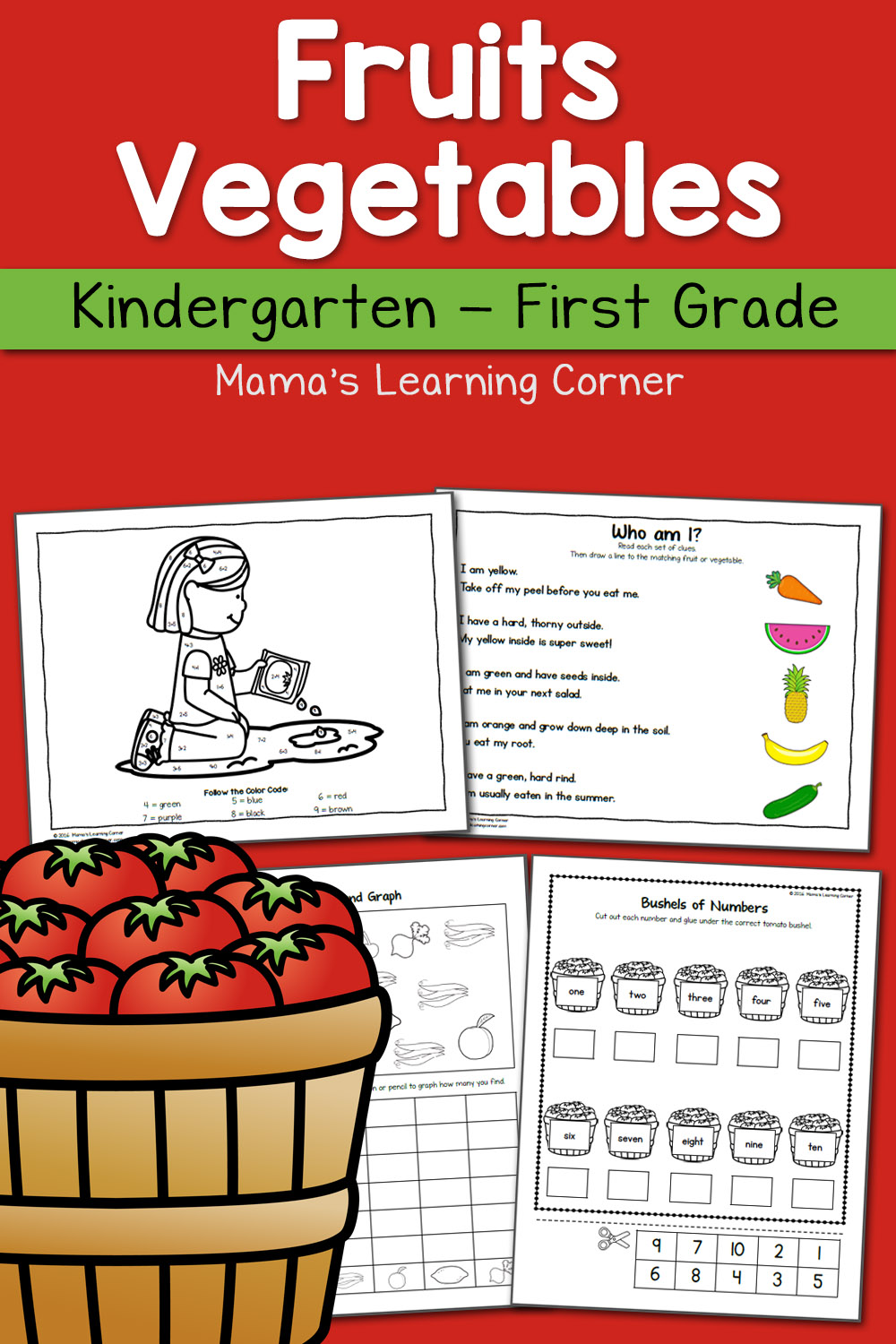 Fruit And Vegetable Worksheets For Kindergarten And First