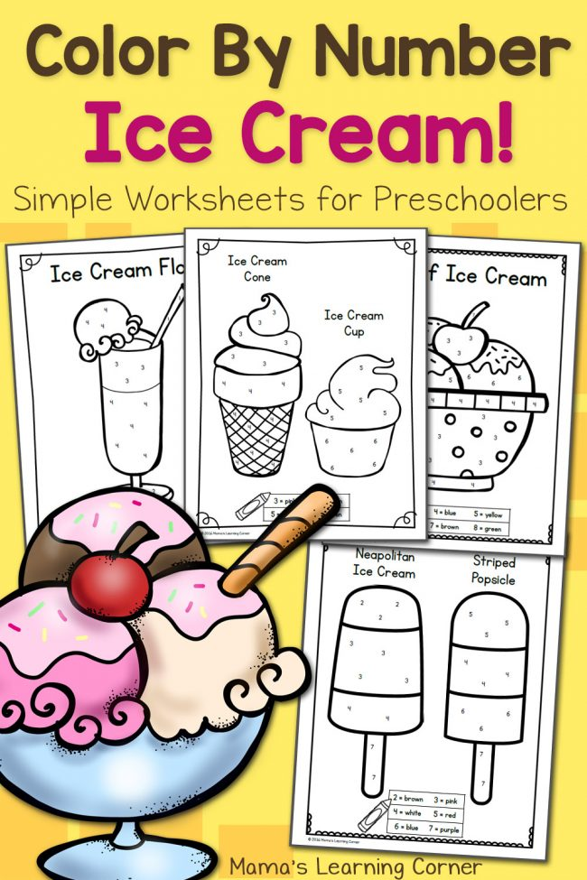 Color By Number Worksheets for Preschool: Ice Cream ... | colouring worksheets for preschoolers