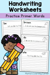 Handwriting Worksheets for Kids: Dolch Primer Words!