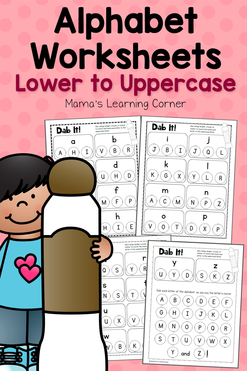 Dab It! Alphabet Worksheets - Match Lower and Uppercase ...