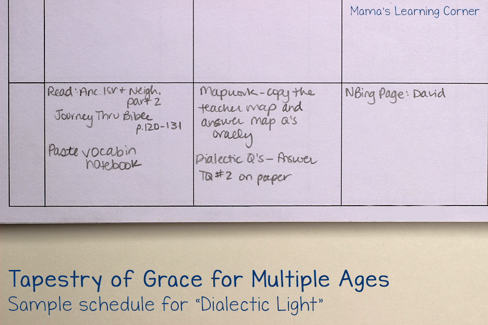 Planning Tapestry of Grace for Multiple Ages - Sample of Dialectic Schedule