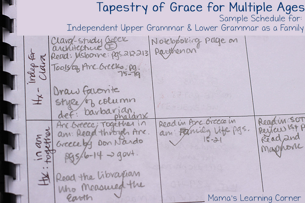 Planning Tapestry of Grace for Multiple Ages - Sample Upper Grammar and Lower Grammar schedule