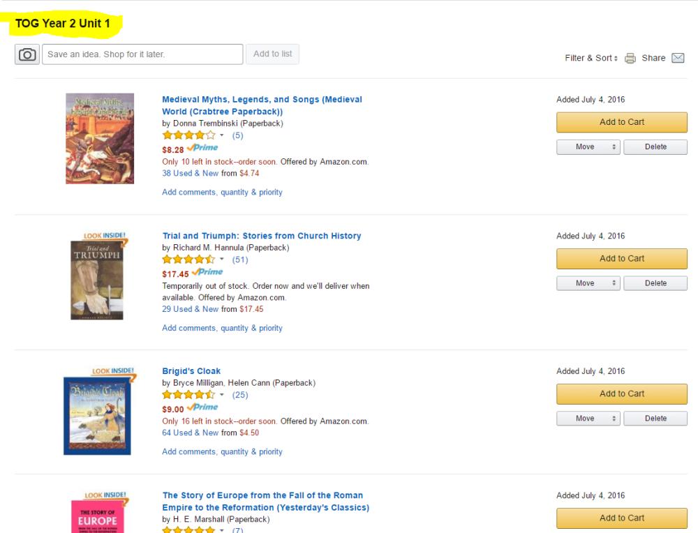Amazon TOG List