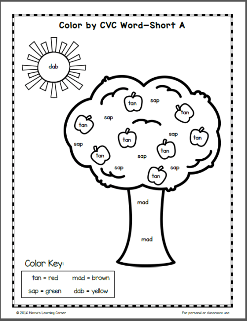 Fall Color By CVC Word Worksheets