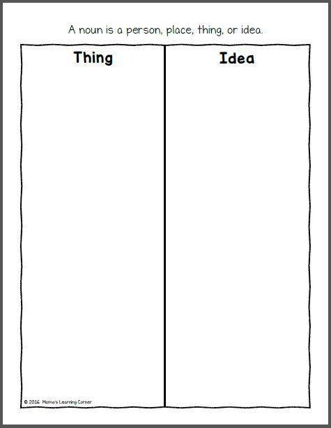Sort the Nouns File Folder Game