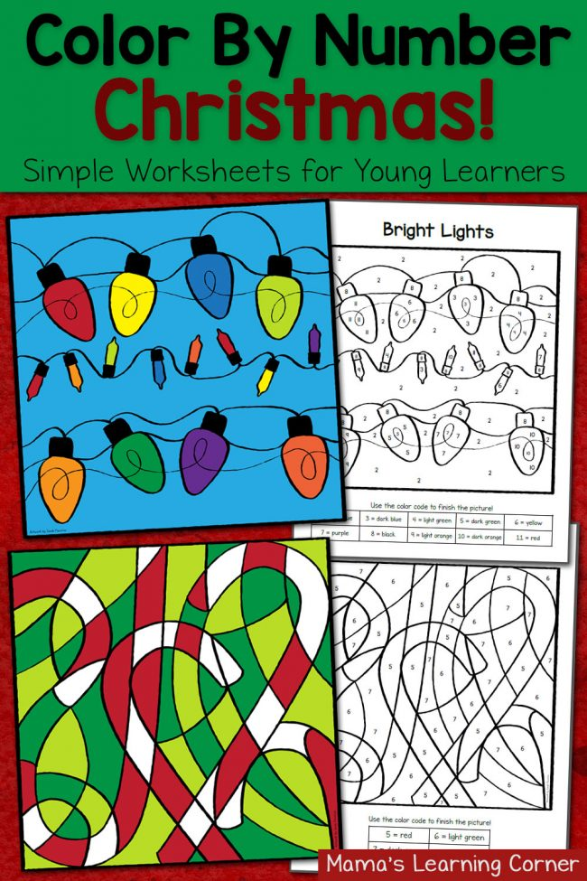 Christmas Color By Number Worksheets
