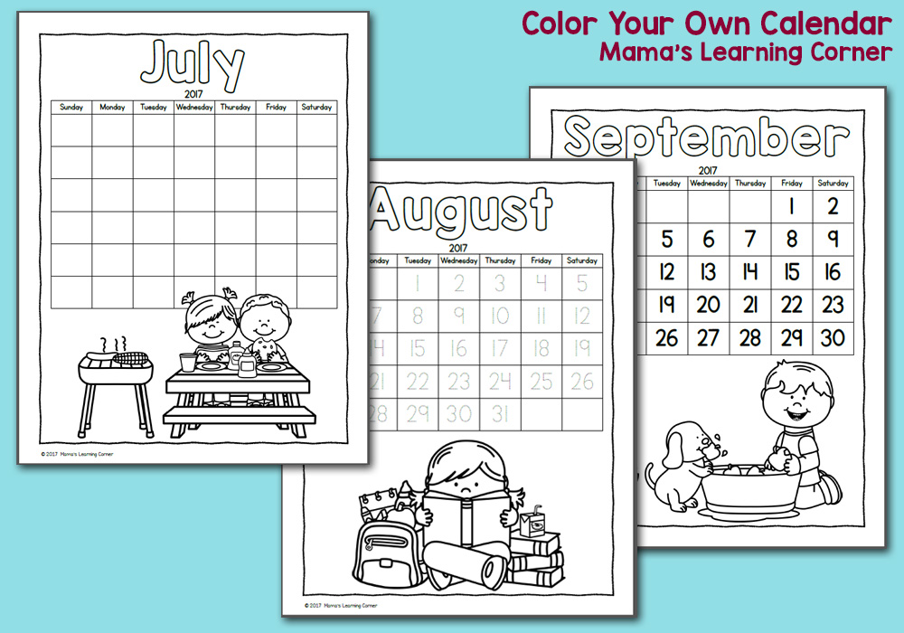 Color Your Own Calendar Packet 2017