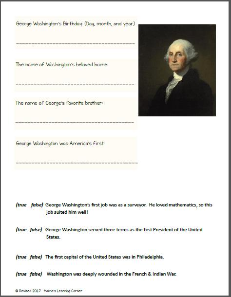 George Washington Worksheets