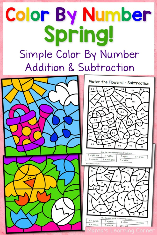 Spring Color By Number Worksheets with Simple Numbers plus Addition ...