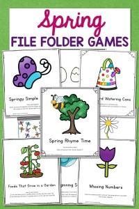 Spring File Folder Games – 10 different activities for Preschool and Kindergarten!