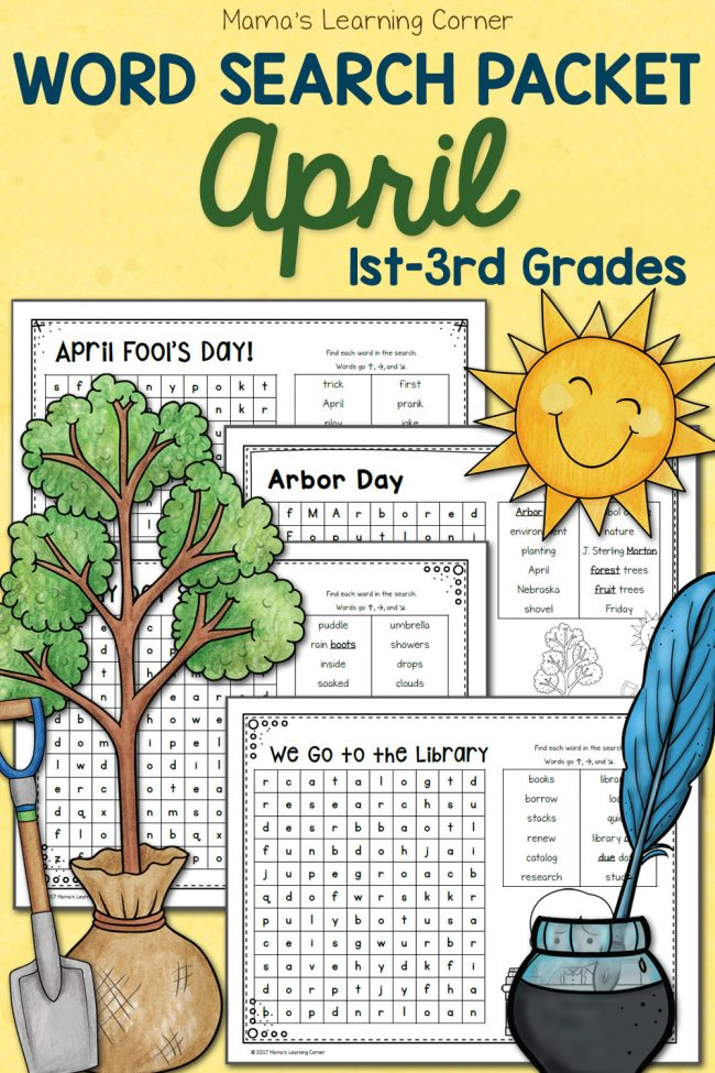 April Word Search packet