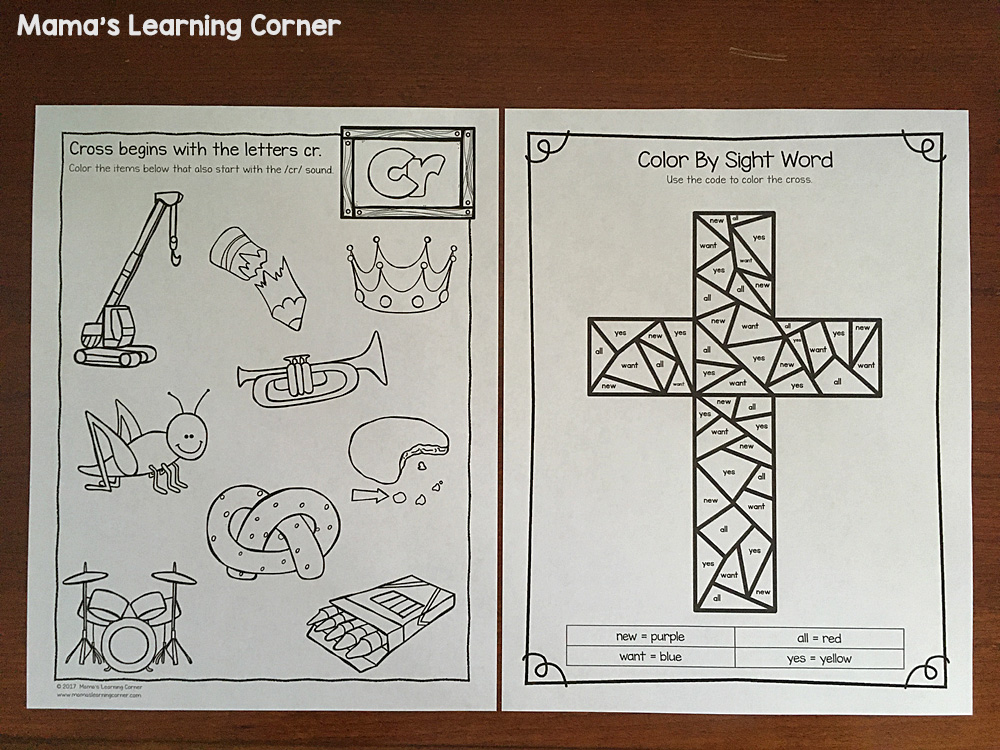 Christian Easter Worksheets Color By Sight Word