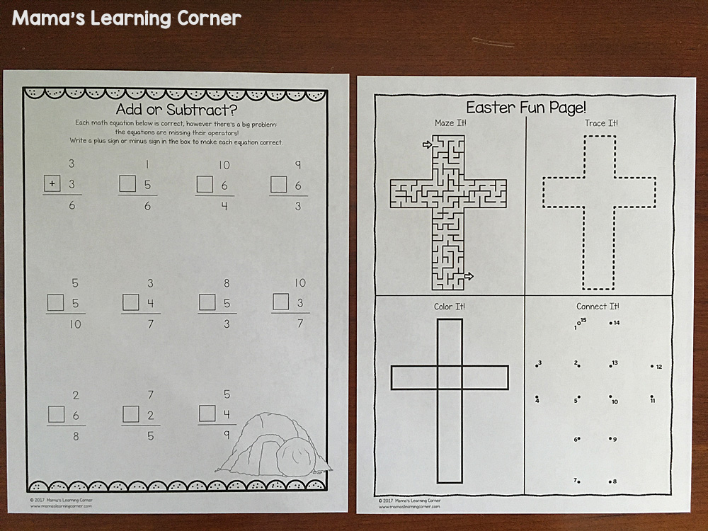 Christian Easter Worksheets Fun page