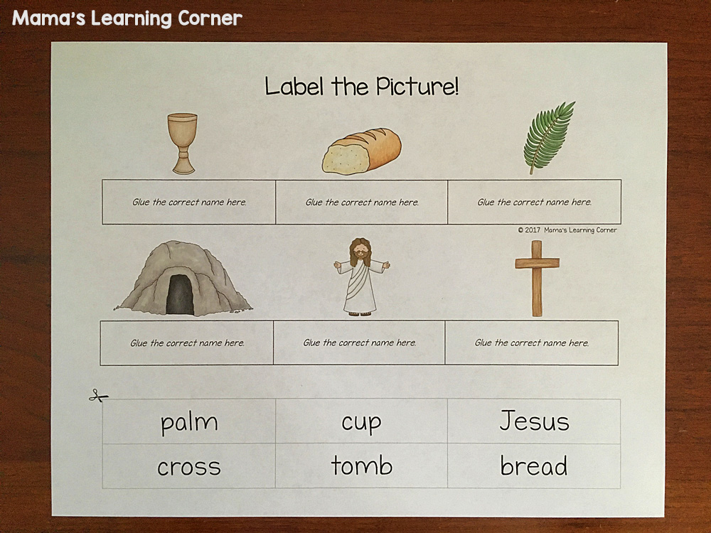 Christian Easter Worksheets Label the Picture