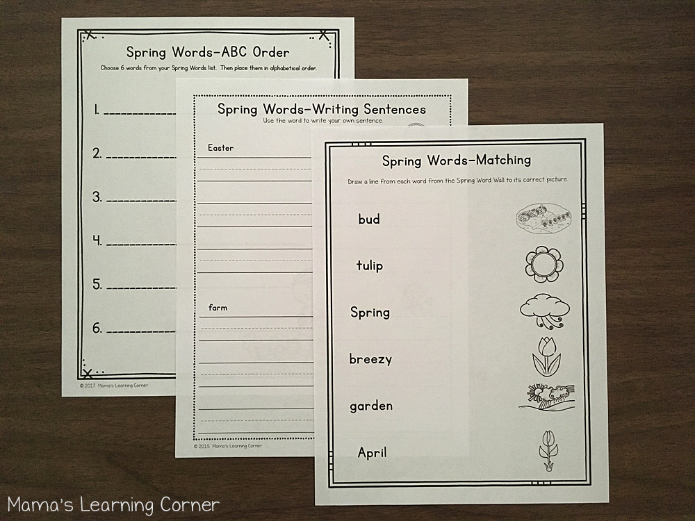 Spring File Folder Word Wall