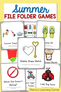 Summer File Folder Games – 10 Hands-On Activities for Preschool and Kindergarten!