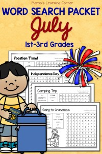 July Word Search Packet