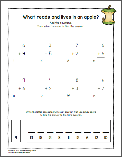 Apple Worksheets for K and 1st