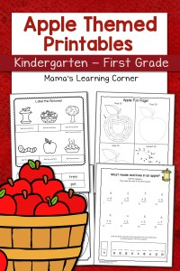 Apple Worksheets for Kindergarten-First Grade