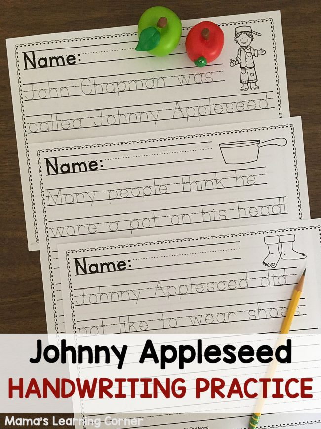 picture relating to Johnny Appleseed Printable Story named Johnny Appleseed Printables and System Exploration Supplies - Mamas