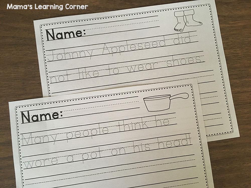 Johnny Appleseed Handwriting Worksheets