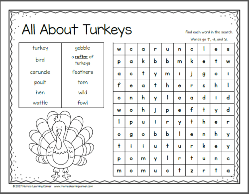 November Word Search Packet