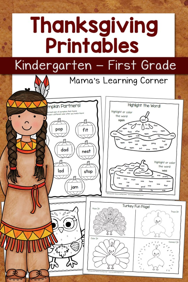 Thanksgiving Worksheets for Kindergarten and First Grade
