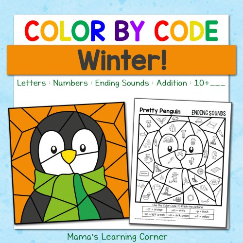 Winter Color By Code Worksheets