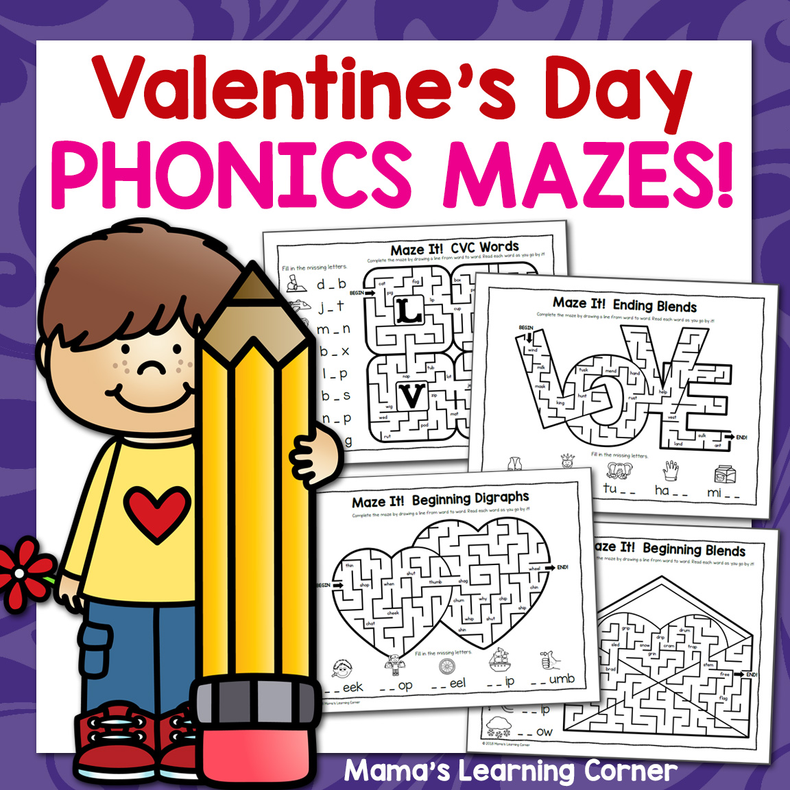 Phonics Mazes For Valentine S Day