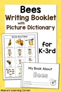 Bee Writing Booklet with Picture Dictionary