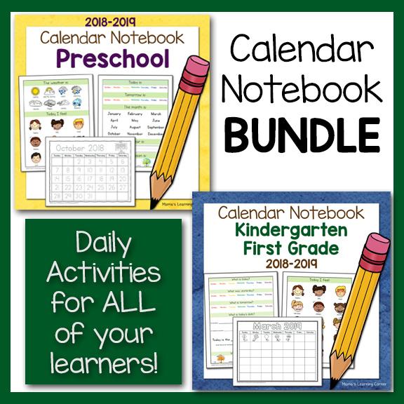 Calendar Notebooks For Preschool, Kindergarten, 1st Grade BUNDLE
