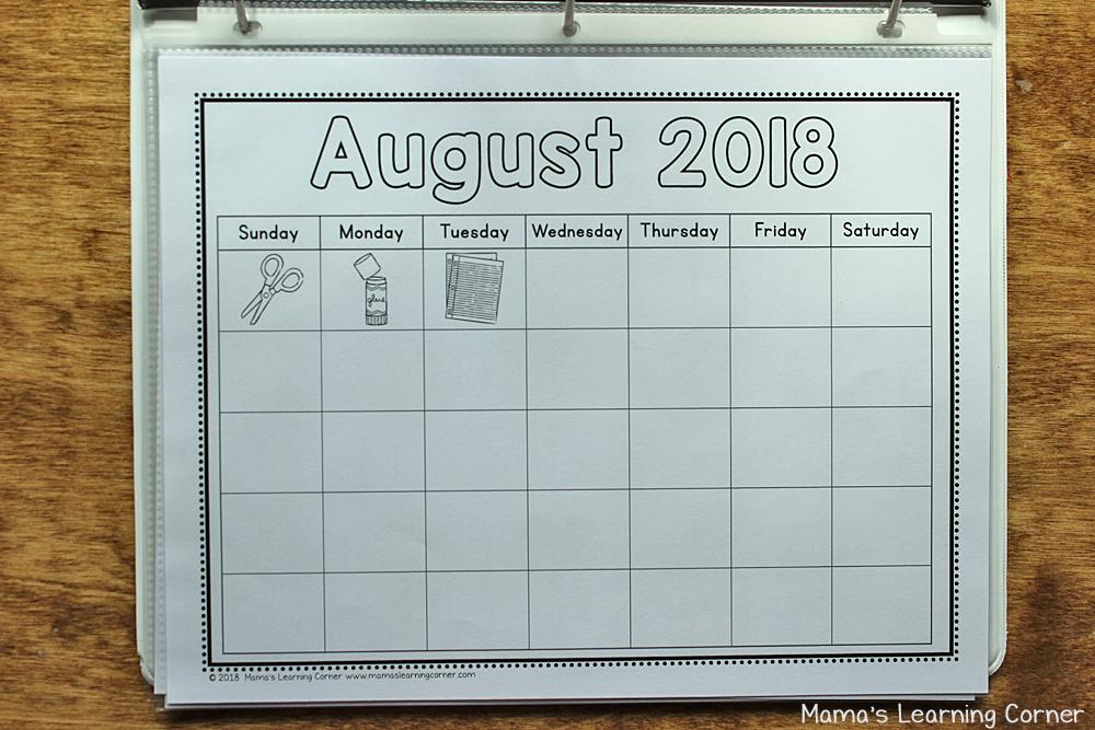Kindergarten Calendar Notebook 2018 2019